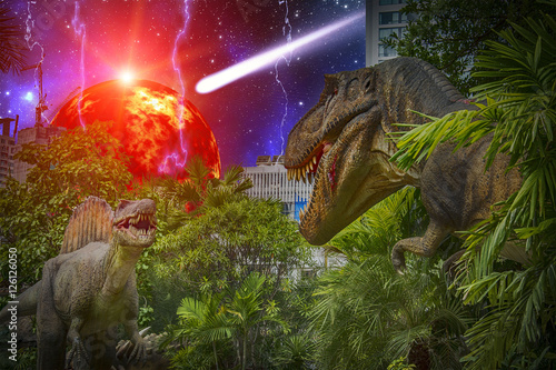two dinosaurs fighting during the end of earth