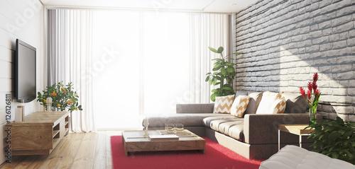 Soggiorno con divano e televisore luminoso con vista render - Buy ...