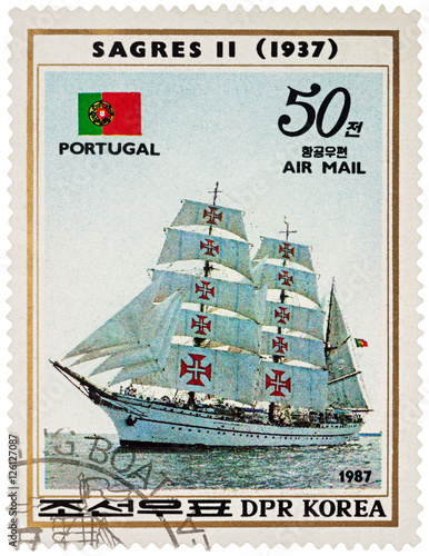 "Fotografie, Obraz  Portuguese sail training ship ""Sagres II"" (1937) on postage stam"