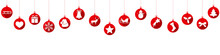 Hanging Red Baubles With Christmas Decorations