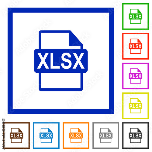 XLSX file format flat framed icons - Buy this stock vector