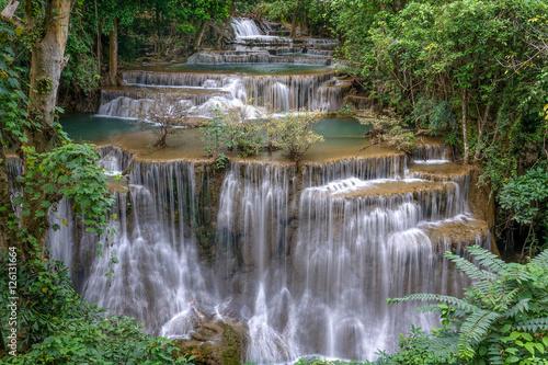 Fototapety, obrazy: Huay Mae Kamin Waterfall, beautiful waterfall in rainforest, Kan