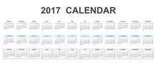 Simple Calendar 2017 In Line Style. Flat Vector Illustration On White Background.