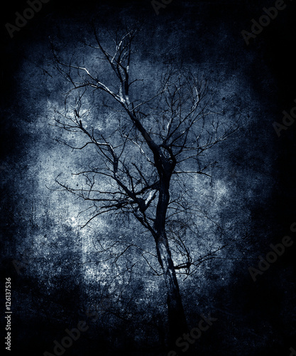 Lonely Tree Grunge Vintage Landscape Scary Halloween Wallpaper Poster Wilqku
