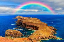 Rainbow In Madeira Over Island