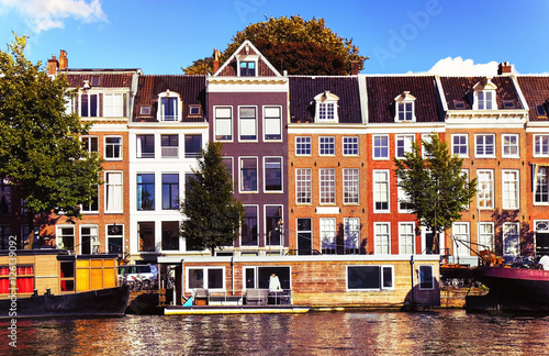 Outdoor View Of The Traditional Old Dutch Houses In Amsterdam The