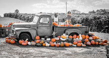 A Black And White Picture With Orange Pumpkins Surrounding An Old Truck