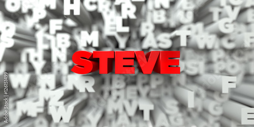Fotografie, Obraz  STEVE -  Red text on typography background - 3D rendered royalty free stock image