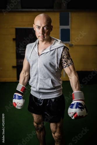 Portrait of confident thai boxer