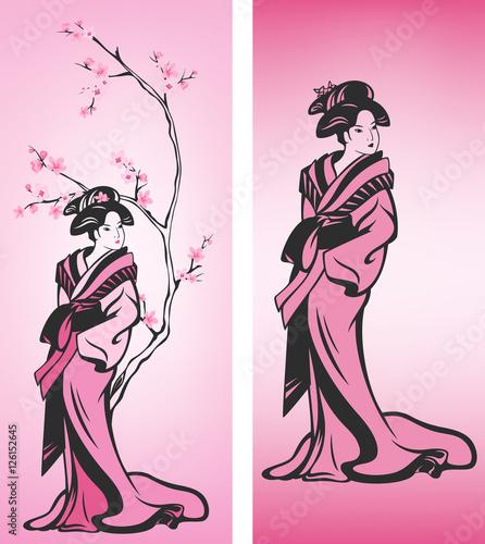 Fotografie, Tablou spring geisha vector design set