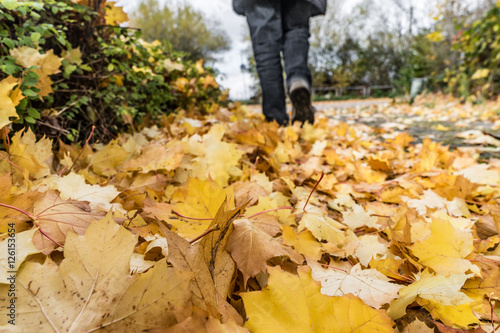 Keuken foto achterwand Begraafplaats Schreiten durch das Herbstlaub bei schlechtem Wetter