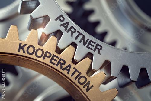 Fotografía  3d Zahnräder Partner Kooperation