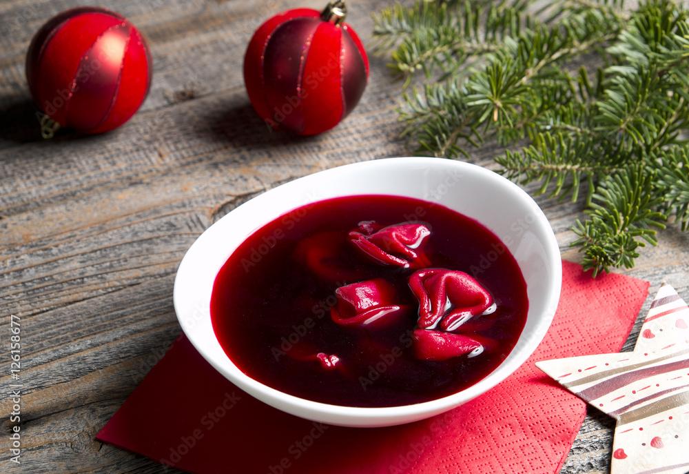 Fototapeta Barszcz czerwony z uszkami