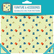 Seamless vector pattern with chairs in the package with pattern unit and shadow.