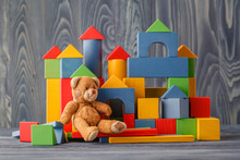 Toy Bear And Pile Wooden Build...