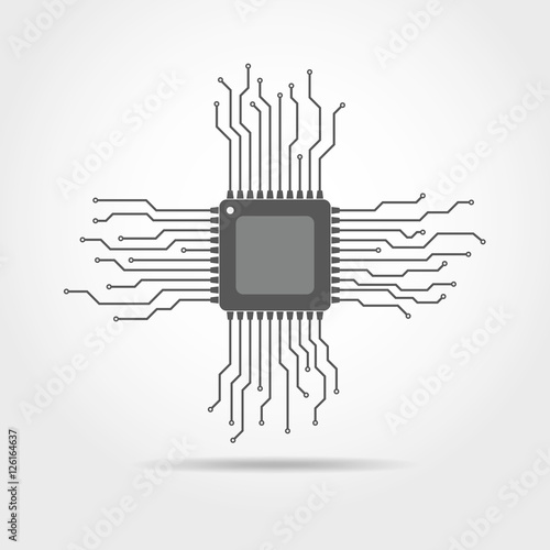 Valokuva  Chip with circuit board. Vector illustration.