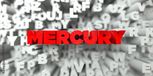 Fotografie, Obraz  MERCURY -  Red text on typography background - 3D rendered royalty free stock image