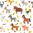 Seamless pattern with farm animals, vegetables and fruits. Cute