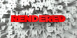 RENDERED -  Red text on typography background - 3D rendered royalty free stock image. This image can be used for an online website banner ad or a print postcard.