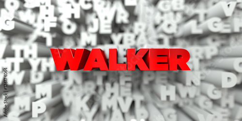 Photo  WALKER -  Red text on typography background - 3D rendered royalty free stock image
