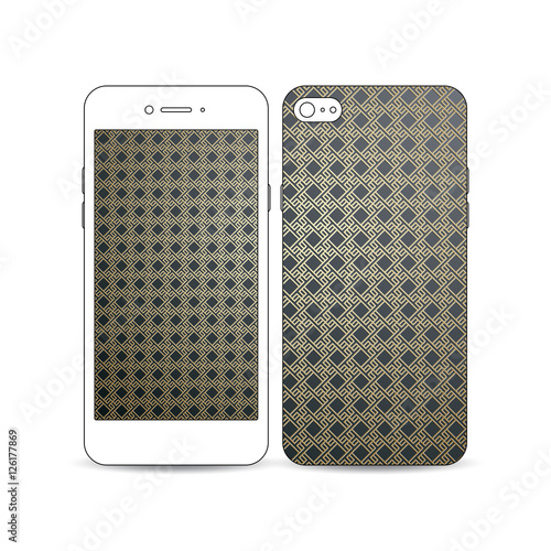 In de dag Art Studio Mobile smartphone with an example of the screen and cover design isolated on white. Islamic gold pattern, overlapping geometric square shapes forming abstract ornament. Vector stylish golden texture.