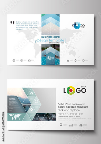 Business card templates flat design blue color travel decoration business card templates flat design blue color travel decoration layout easy editable vector template wajeb Images