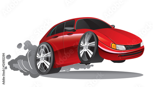 Spoed Foto op Canvas Cartoon cars Vector illustration of fast moving red sport car in cartoon style