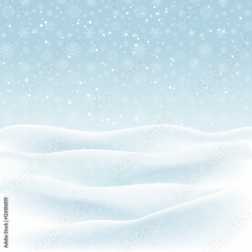 Photo Stands Light blue Christmas snowy landscape