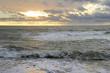 Россия, Краснодарский край, Джубга. Море на закате в ветренную погоду