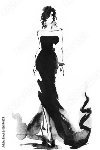 Poster Portrait Aquarelle woman with elegant dress .abstract watercolor .fashion background