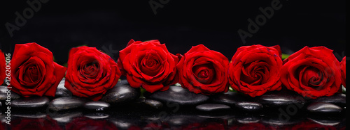 Staande foto Spa Set of red rose and wet stones