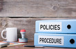 canvas print picture - Policies and Procedure. Two binders on desk in the office. Busin
