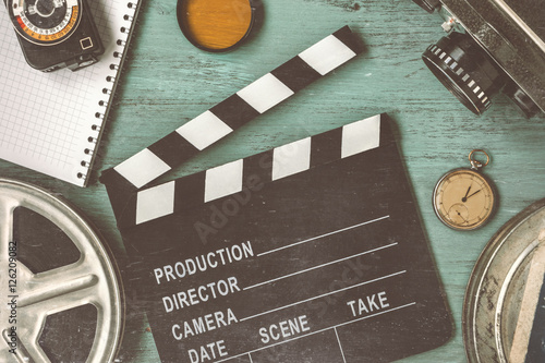 Photo  Clapperboard and a film reel