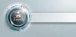 E-Auto Knopf mit Banner und Schaltplan