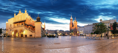Krakow old city at night. Market Square at night, panoramic view