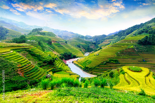 Photo sur Toile Les champs de riz Rice fields on terraced of Mu Cang Chai, YenBai, Vietnam. Rice fields prepare the harvest at Northwest Vietnam.Vietnam landscapes.