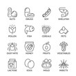 basic allergens thin line icons with text