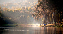 Morning In Pang Ung Lake,North Of Thailand, Is A Tourist Place Where People Come To Vacation In The Winter