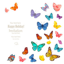 Invitation Card With Lovely Flying Butterflies On White Backgrou