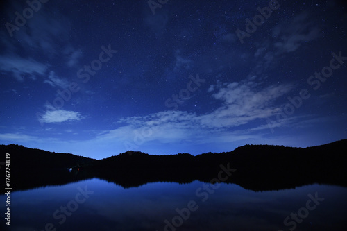 In de dag Nacht night sky stars with milky way on mountain background on dark blue sky