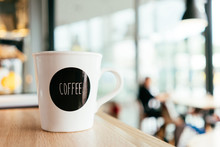 Background Image With Coffee Mug, Cup At Cafe Table