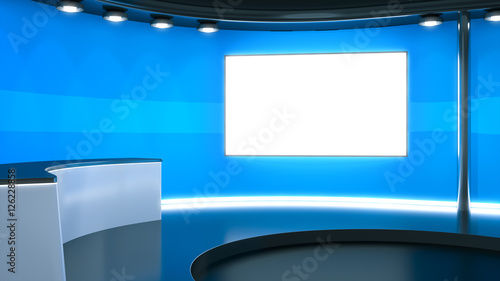 Photo  a blue television studio background