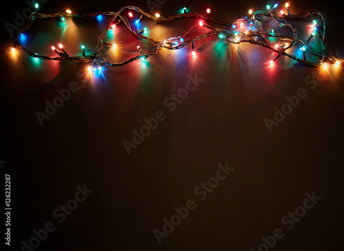 Colorful Christmas Lights Background.Christmas Background With Lights And Free Text Space