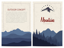 Set Of Stylish Outdoor Cards Template. Vector Backgrounds With Blue Mountains. Front And Back Page.