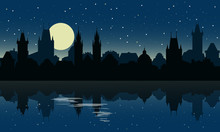 Silhouette Of Prague At Night. City Skyline With Reflection In The Water. Travel Prague Background. Vector Illustration.