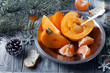 fresh persimmon fruit and mandarin