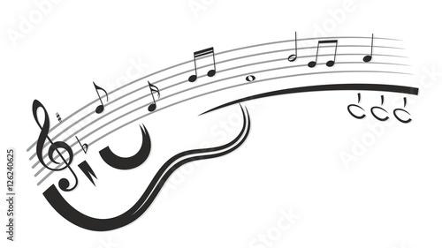 Fotografie, Obraz  Guitar with notes.