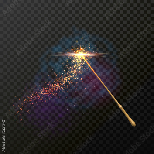 Fotografie, Obraz  Magic wand with magical sparkle glitter light trail trace