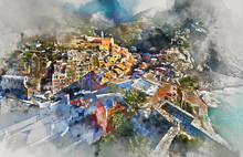 Digital Watercolor Painting Of Vernazza Village. Italy