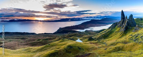 Sunrise at the most popular location on the Isle of Skye - The Old Man of Storr - beautiful panorama of an amazing scenery with vivid colors and picturesque panorama - symbolic tourist attraction - 126249426